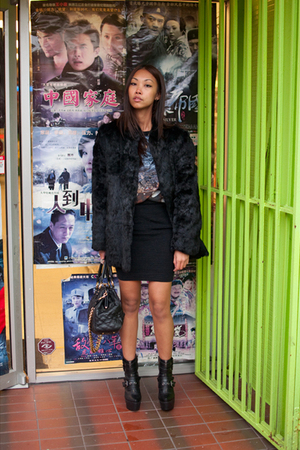 vintage coat - Christopher Kane x Topshop t-shirt - French Connection skirt - Ma