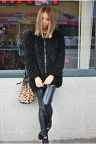 black BCBG boots - black faux fur zipper Yes Style jacket - tan Alexander Wang p