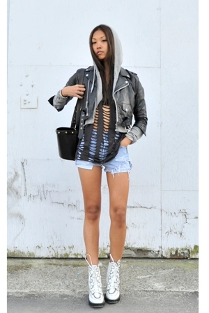 vintage jacket - H&amp;M shirt - Levis shorts - Emma Cook for Topshop boots - TNA sw
