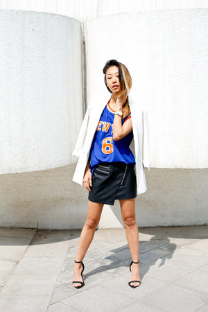 Style Stalker skirt - boyfriend Zara blazer - NBA shirt