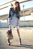 heather gray TNA shorts - black Din Sko boots - black vintage jacket