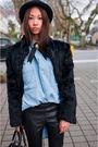 Blue-zara-shirt-black-silence-noise-pants-black-bcbg-boots-black-vintage-