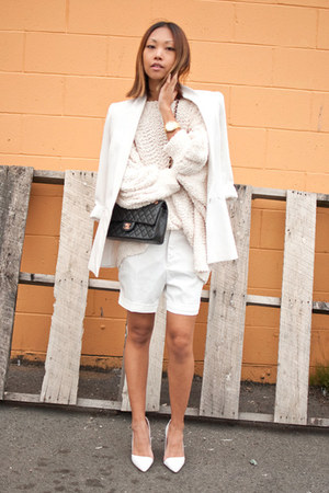 off white Yesstyle sweater - white Zara blazer - white unknown shorts