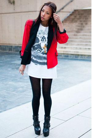 red Vintage Christian Dior blazer - black Din Sko boots