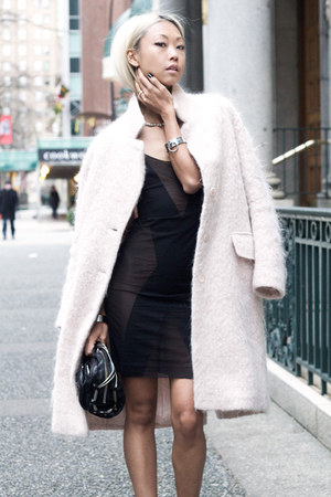 light pink H&M coat - black NOE Undergarments dress - black Alexander Wang purse