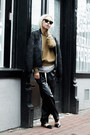 Black-vintage-jacket-dark-khaki-h-m-sweater-black-cat-eye-bcbg-sunglasses