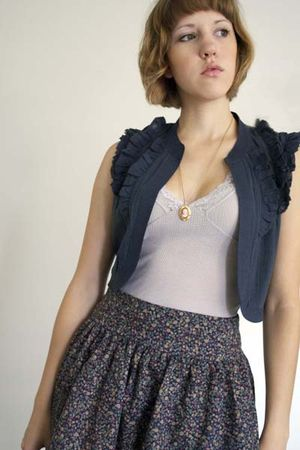 purple Urban Outfitters shirt - blue Urban Outfitters vest - gold vintage neckla