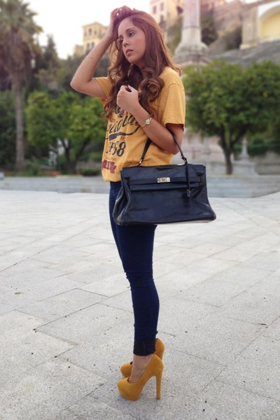 Primark t-shirt - pull&amp;bear jeans - vintage bag - Primark heels