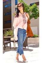 pink asos shirt - blue Current Elliot jeans - pink Miu Miu shoes - black Marc Ja