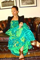 green BCBG dress - brown dvf shoes - black Balmain knockoff blazer - green from