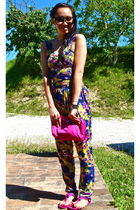 pink Prada purse - pink Tods shoes - yellow asos suit - black Marc Jacobs sungla