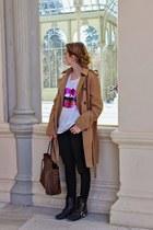 camel Costa Blanca coat - dark brown Louis Vuitton purse - pink Ahai t-shirt