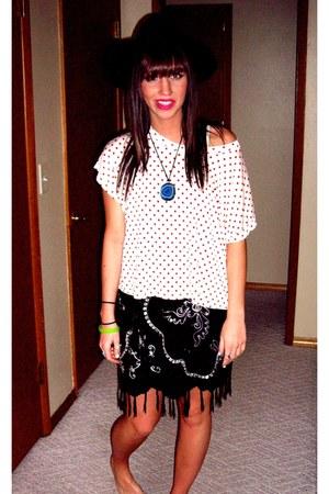 white blouse - black dress - black hat - turquoise blue stone necklace