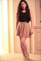 gold Forever 21 necklace - nude Forever 21 pumps - camel Forever 21 skirt