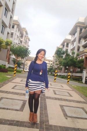 white Forever 21 skirt - light brown Forever 21 boots - navy thrifted sweater