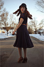 Navy-lace-vintage-dress-black-vintage-coat-black-cloche-hat-tan-tights