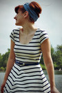 Turquoise-blue-modcloth-scarf-white-striped-h-m-dress-navy-thrifted-belt