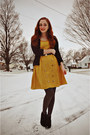 Mustard-modcloth-dress-charcoal-gray-walgreens-tights-black-vintage-belt