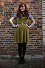 Black-thrifted-shoes-olive-green-velvet-vintage-dress-black-merona-tights