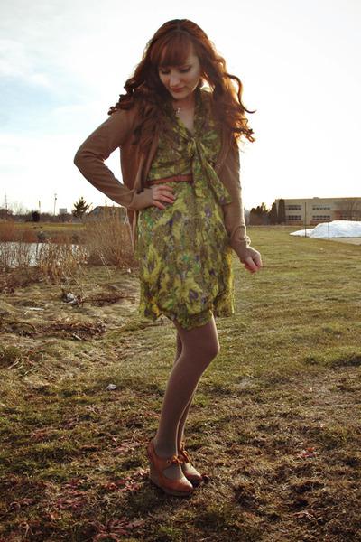 camel merona tights - olive green modcloth dress - bronze thrifted belt