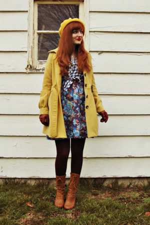 light yellow Forever 21 coat - bronze oxford modcloth boots