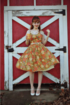 carrot orange vintage dress - white Charlotte Russe shoes