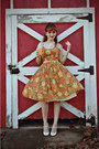 White-charlotte-russe-shoes-carrot-orange-vintage-dress