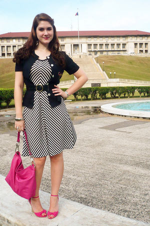 white dress - black jacket - pink wild diva shoes - pink purse - black Nine West