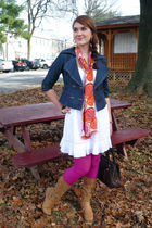 white JFW dress - blue Zawary jacket - pink tights - beige forever boots - white