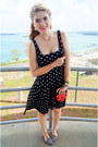 Black-polka-dot-dress-ralph-lauren-dress-red-ladybug-bag-asos-bag