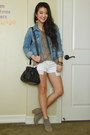 White-denim-forever-21-shorts-heather-gray-cotton-forever-21-t-shirt