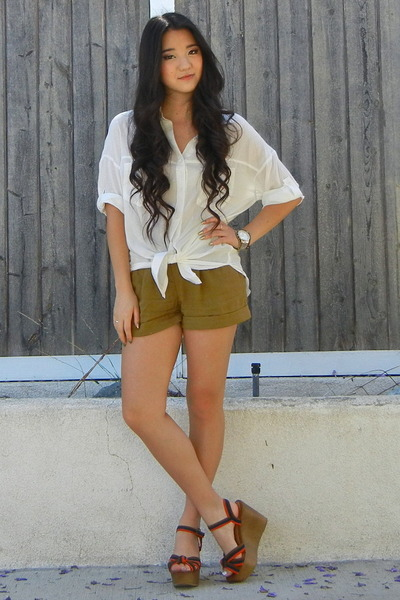 white rayon VioletBoutique blouse - olive green rayon Urban Outfitters shorts