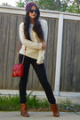 Brown-wedge-booties-steve-madden-boots-jeggings-american-eagle-jeans