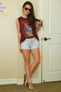 Light-blue-denim-forever-21-shorts-crimson-cotton-forever-21-t-shirt