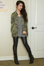 Black-leather-donald-j-pliner-boots-army-green-camo-utility-forever-21-jacket
