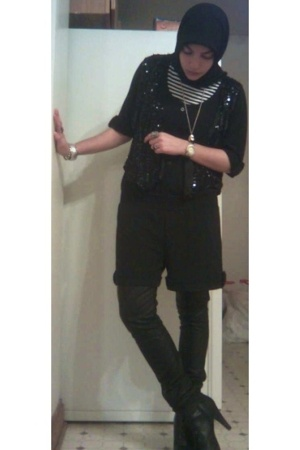 black sequin vintage vest - black Payless boots - white striped vintage shirt