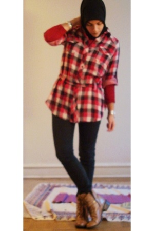 f21 shirt - F21 button up shirt - Madonna for H&M pants - GoMaxx via ebay boots