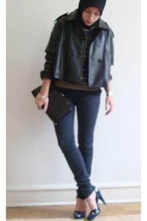 forever 21 jacket - Striped gold and black vintage top - Thrifted Vintage clutch