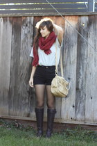 Forever 21 scarf - Forever 21 boots - HUE tights - American Apparel shorts