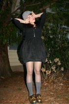 gold doc martens shoes - gray socks - black Anthropologie dress
