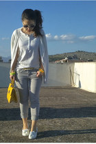 yellow asos bag - silver Tally Weijl jeans - white H&M t-shirt