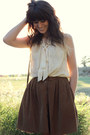 Brown-skirt-dark-brown-vintage-bag-ivory-blouse