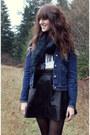 Blue-vintage-levis-jacket-dark-green-plaid-scarf-white-top