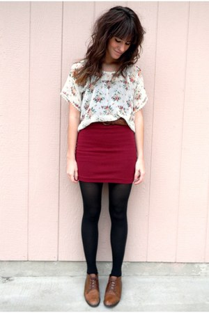 maroon Forever 21 skirt - brown vintage shoes - white top