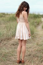 peach striped American Apparel dress - brown Jeffrey Campbell shoes