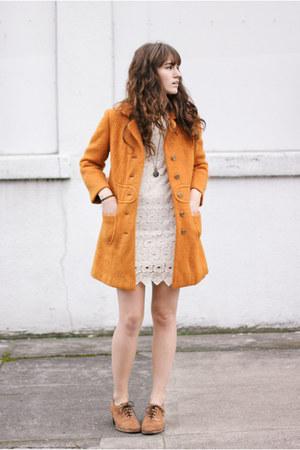 light orange vintage coat - light brown shoes - ivory dress - gold necklace