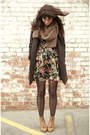 Black-floral-dress-camel-vintage-boots-army-green-vintage-coat-brown-scarf
