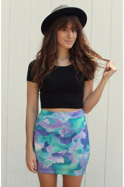 turquoise blue watercolor Shop Akira skirt - black cropped American Apparel top