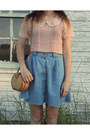 Sky-blue-vintage-skirt-bronze-vintage-bag-peach-pearl-collar-blouse