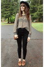 Maroon-vintage-bag-black-high-waisted-pants-heather-gray-striped-blouse